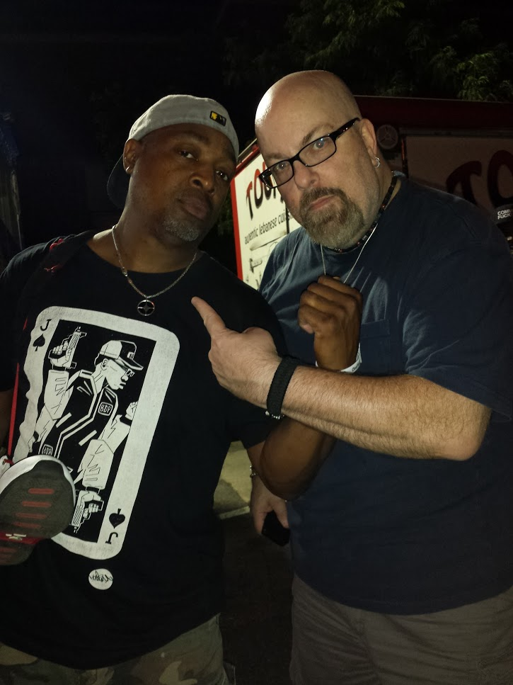 With Chuck D (of Public Enemy) after his set at Afro Punk Fest 2013 at Commodore John Barry Park in Brooklyn, NY- August 25, 2013