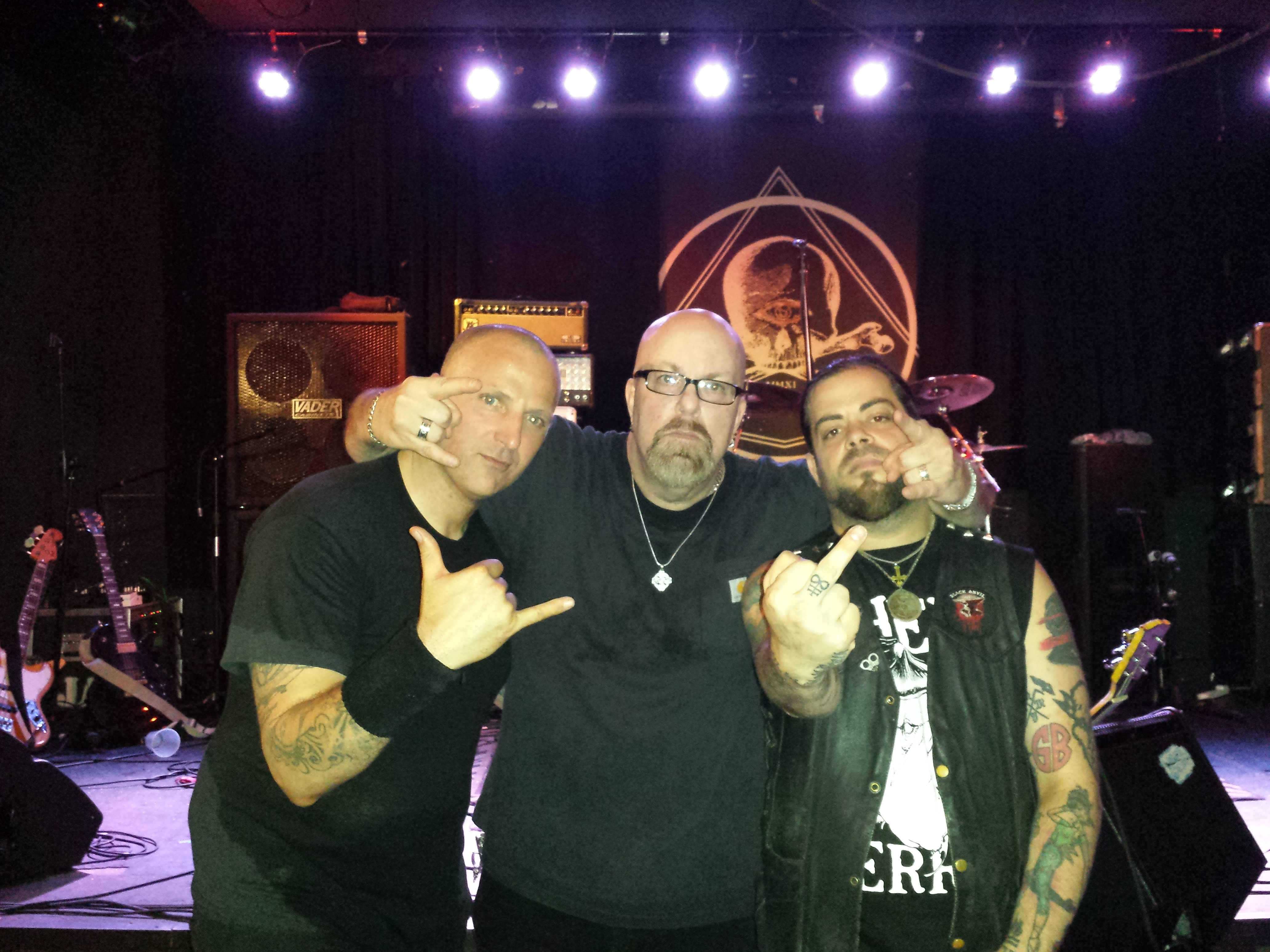 With Michael Hill (of Tombs, left) and Paul Delaney (of Black Anvil, right) after Tombs set at Saint Vitus Bar in Brooklyn, NY- July 25, 2014