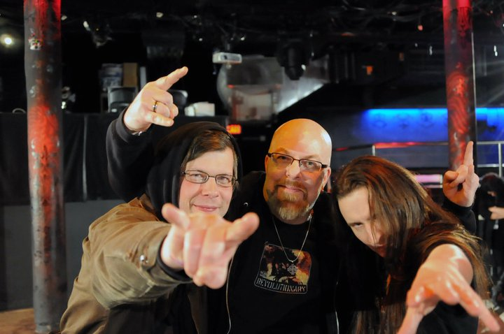 With Kevin Hufnagel (of Gorguts and Dysrhythmia) (left) and John Haughm (of Agalloch) (right) at Le Poisson Rouge, NYC- March 22, 2011. Photo by Stefan Raduta
