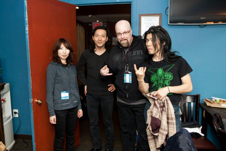 With (L-R) Wata, Michio Kurihara and Atsuo of Boris at Irving Plaza, NYC- October 27, 2011. Photo by Jimmy Archey
