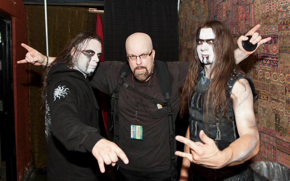 With the late Sławomir 'Mortifer' Kusterka (left) and Adam 'ATF Sinner' Buszko (right) of Hate at Gramercy Theater, NYC- November 3, 2011