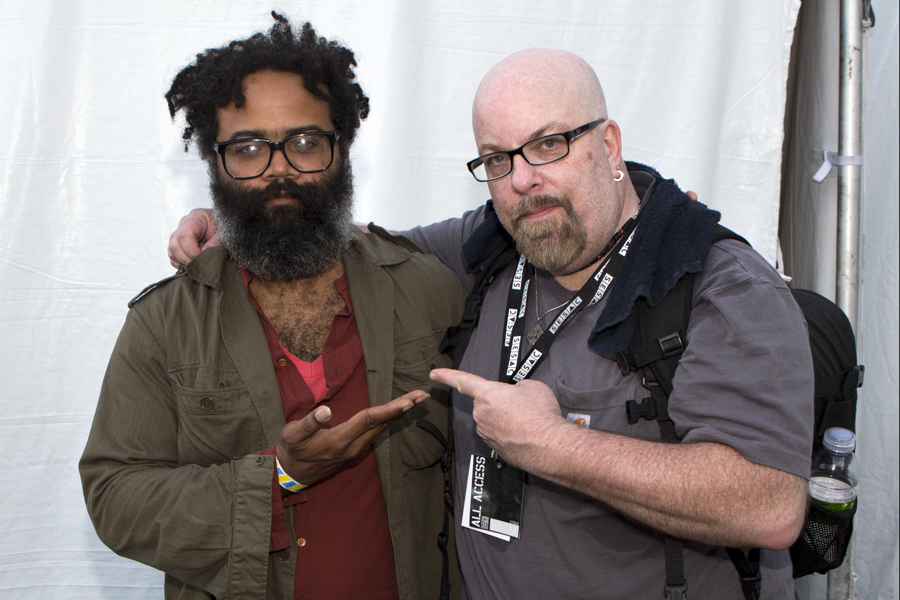 With David Kyp Joel Malone of TV On The Radio at Afro Punk Fest 2012 at Commodore John Barry Park in Brooklyn, NY- August 26, 2012