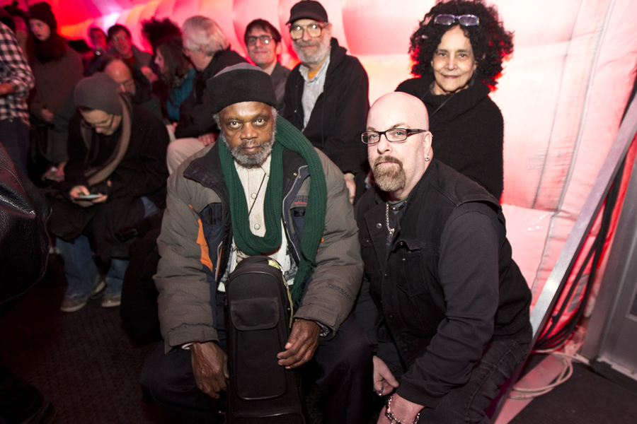 With Henry Grimes who was in the audience for Sun Ra Arkestra directed by Marshall Allen at Sugarcube, NYC- January 31, 2015