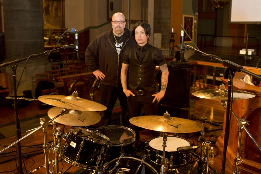 Behind the kit with Chris Vrenna at the Clint Mansell performance at Church of Saint Paul the Apostle, NYC- April 4, 2013