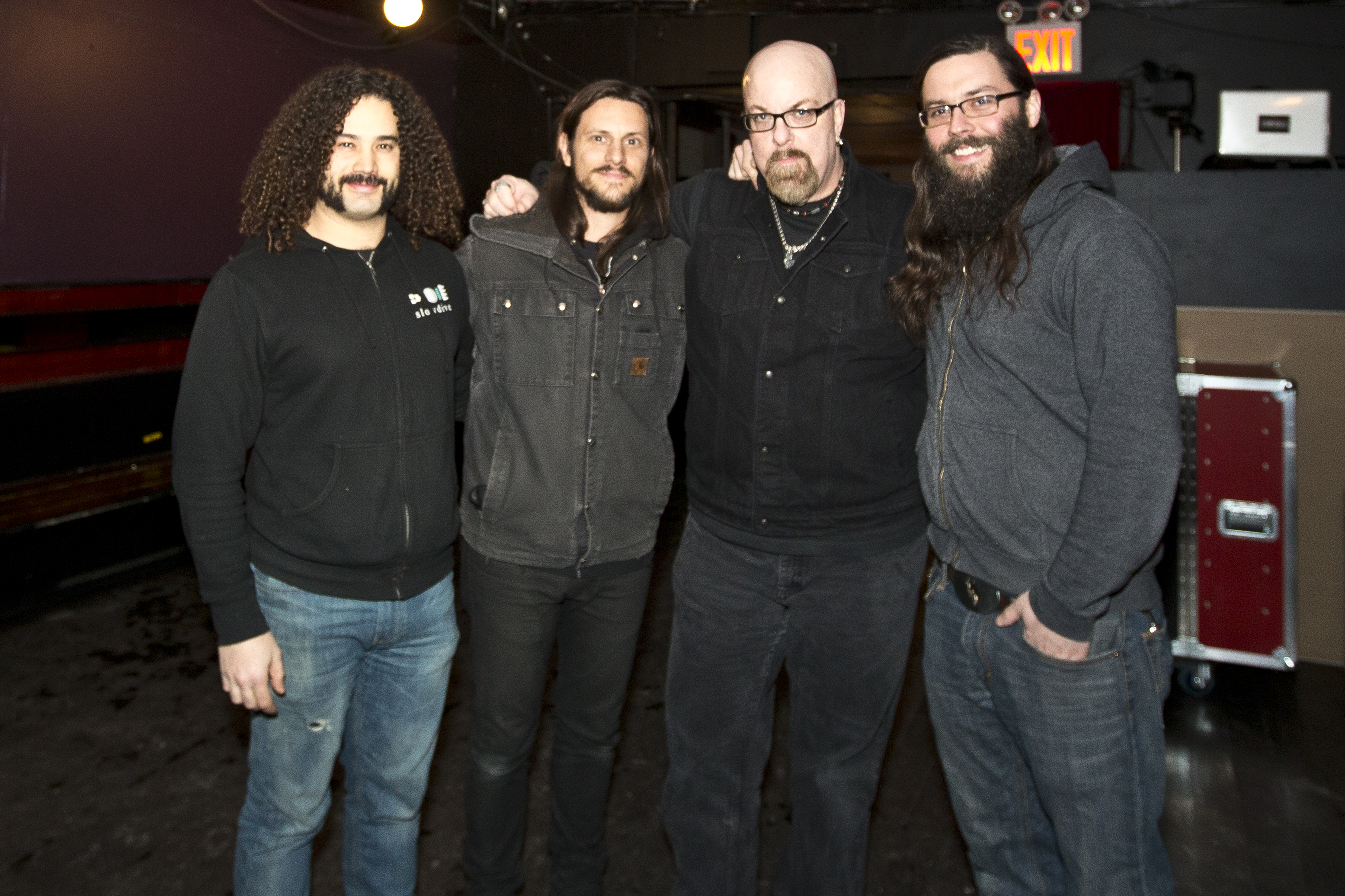 With Carmine Laietta (far left) and Nick Palmirotto (left) of Hull and Drew Mack, formerly of Hull now of Cleanteeth, before the Hull farewell concert at Coco 66 in Brooklyn, NY- February 21, 2015