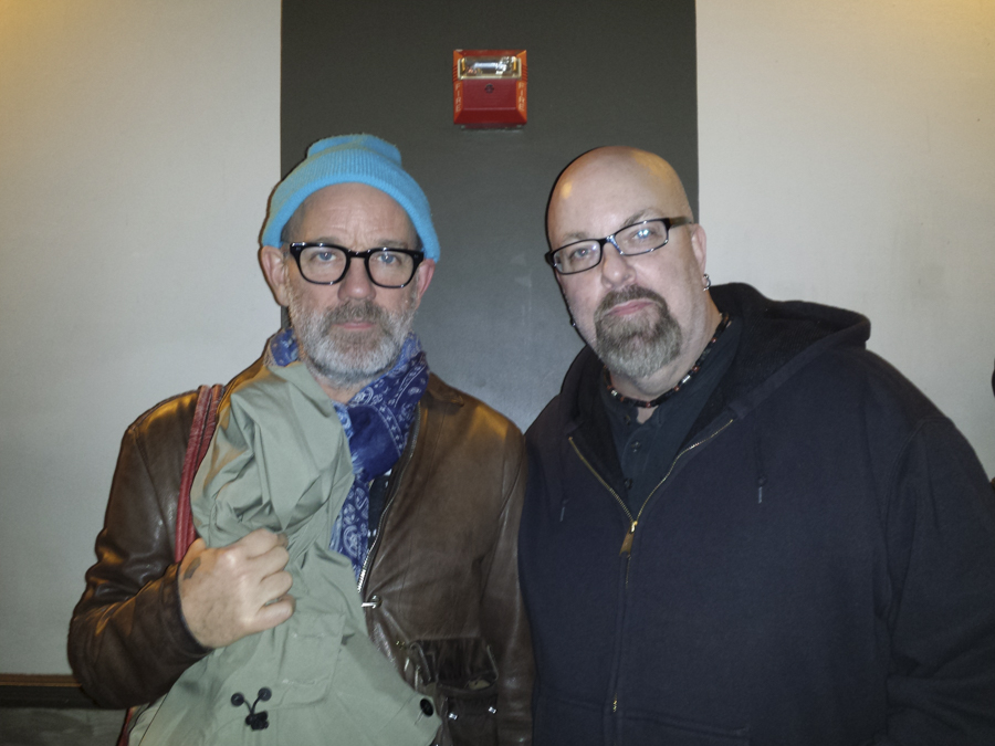 With Michael Stipe (of REM) at Thee Silver Mt. Zion Memorial Orchestra concert at Bowery Ballroom, NYC- April 7, 2014