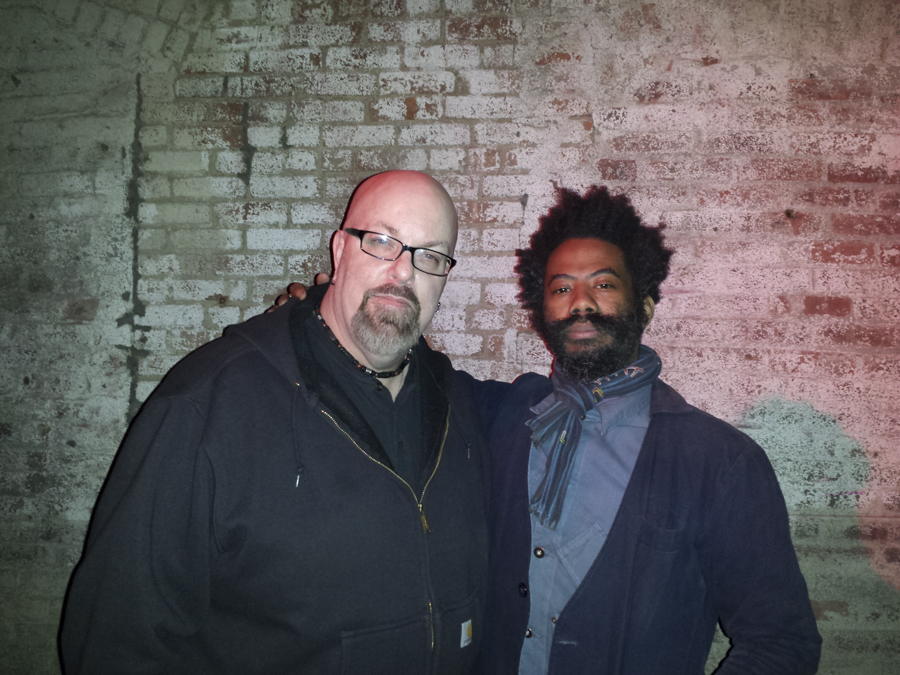 With Robert A.A. Lowe (of Lichens and Om) after his set at the Unsound Festival at The Wick in Brooklyn, NY- April 5, 2014