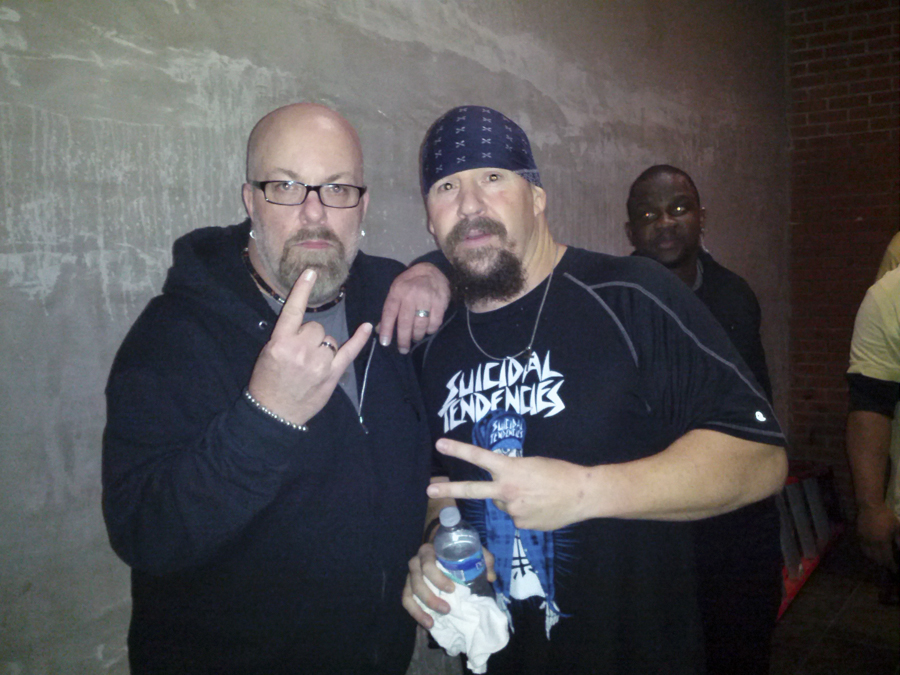 With Mike Muir singer of Suicidal Tendencies backstage at The Emporium in Patchogue, NY- April 23, 2013