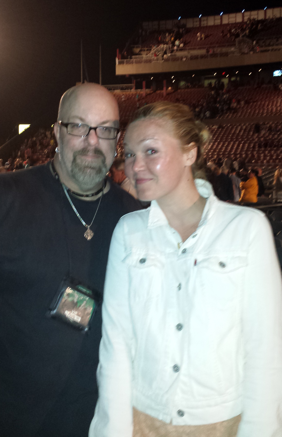 With actress Julia Stiles at a Fleetwood Mac concert at Jones Beach Theater in Wantagh, NY- June 22, 2013