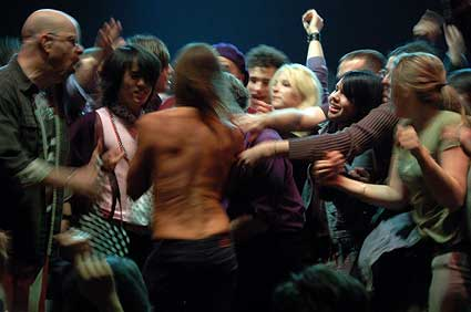 On stage (far left) with Iggy And The Stooges at United Palace Theater, NYC- April 9, 2007. Photo by Dave of BrooklynVegan