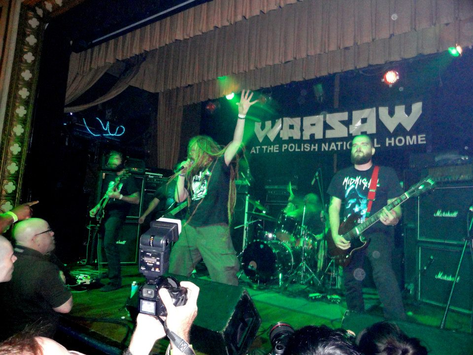 greg C (far left) photographing Coffinworm at Warsaw in Brooklyn, NY- September 2, 2012. Photo by Jay Newman.