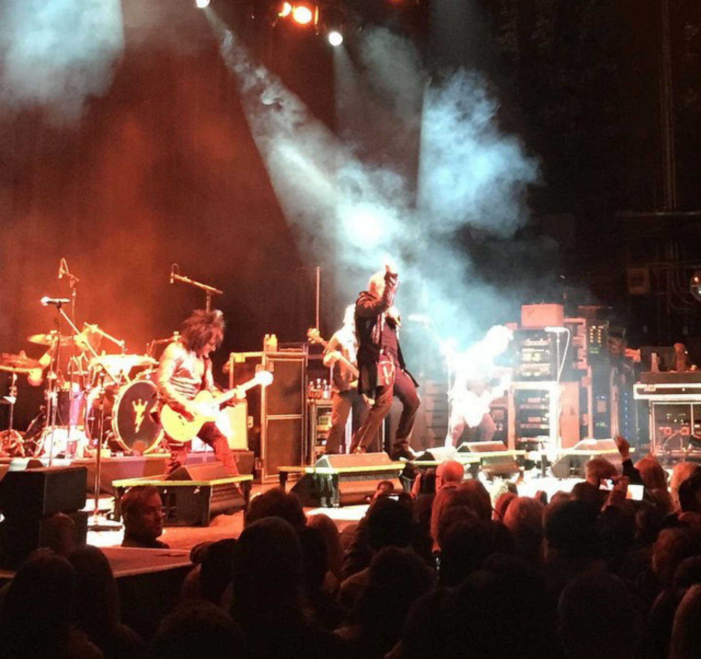 greg C (at Billy's feet) photographing Billy Idol at The Wellmont Theatre in Montclair, NJ- January 29, 2015. Photo by The Wellmont Theatre.