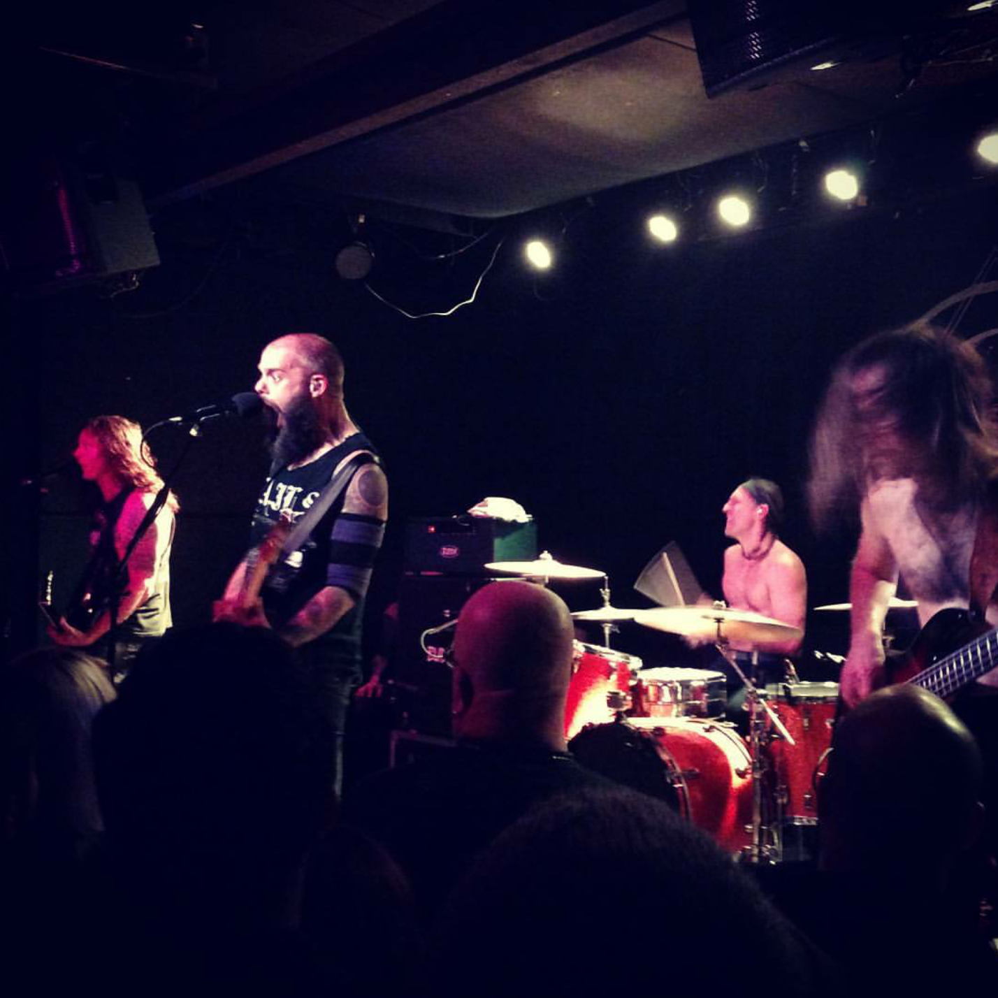 greg C (center) photographing Baroness at Saint Vitus Bar in Brooklyn, NY- December 21, 2015. Photo by Metal Mark.
