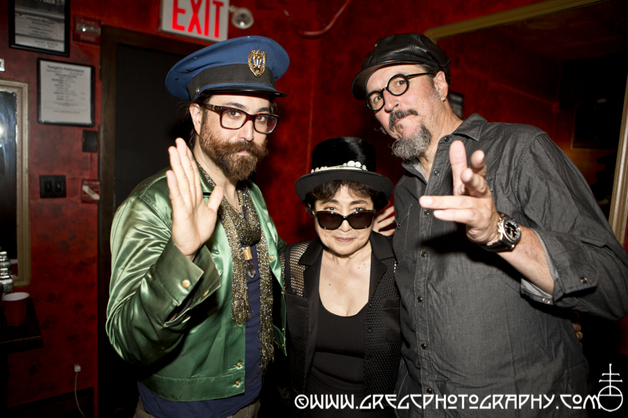 Sean Ono Lennon, Yoko Ono (special surprise guest) and Les Claypool of Claypool Lennon Delirium at Irving Plaza, NYC