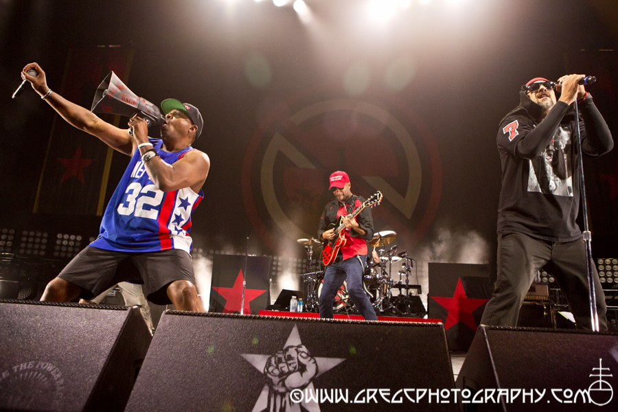 Chuck D, Tom Morello and B-Real of Prophets Of Rage at Barclays Center in Brooklyn, NY