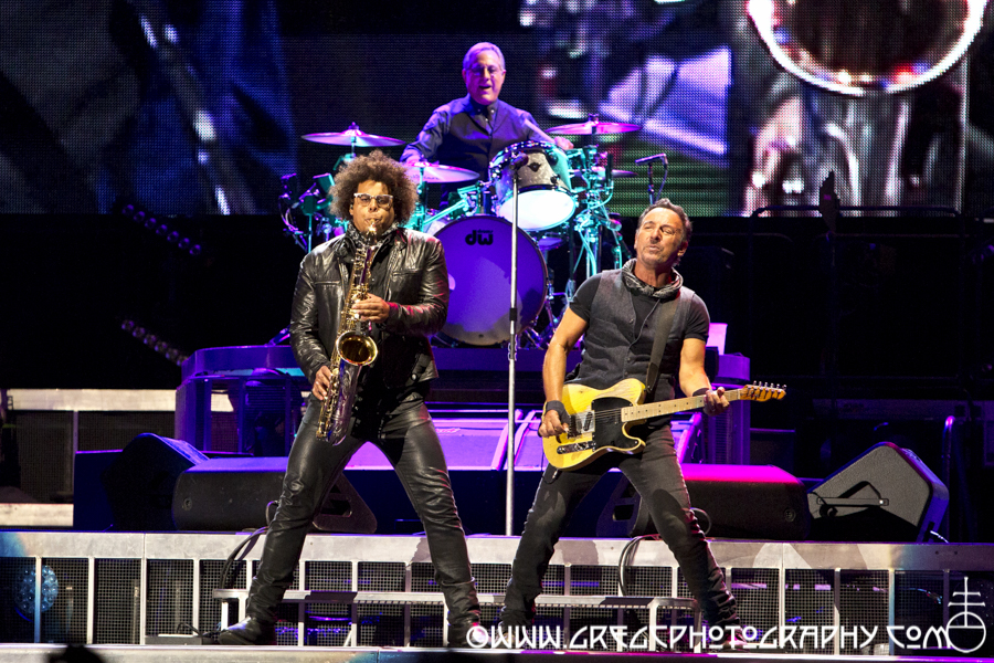 Jake Clemons, Max Weinberg and Bruce Springsteen of Bruce Springsteen & The E Street Band at MetLife Stadium in East Rutherford, NJ
