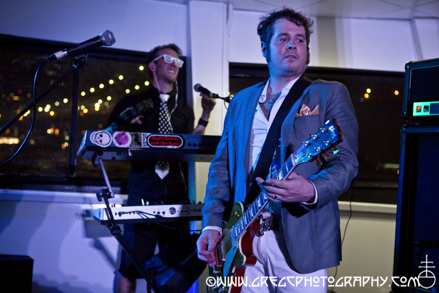 Tait Nucleus (L) and Da Vė of Electric Six at a Rocks Off Cruise Concert in NYC Harbor