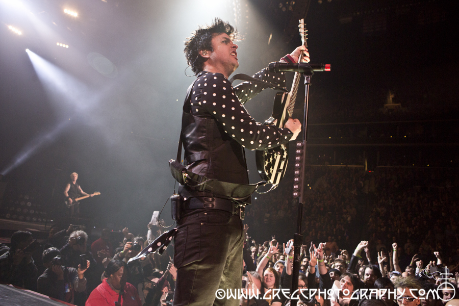 Billie Joe Armstrong of Green Day at Barclays Center in Brooklyn, NY - Green Day and Against Me! photos