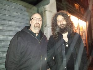 With Efrim Melnuch (of Thee Silver Mt. Zion Memorial Orchestra) after his set at Bowery Ballroom, NYC- April 7, 2014.