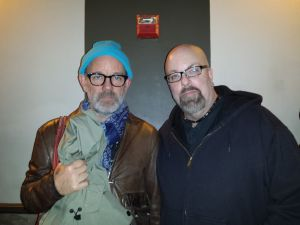 With Michael Stipe (of REM) at Thee Silver Mt. Zion Memorial Orchestra concert at Bowery Ballroom, NYC- April 7, 2014.