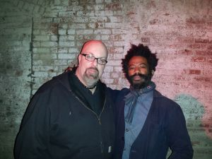 With Robert A.A. Lowe (of Lichens and Om) after his set at the Unsound Festival at The Wick in Brooklyn, NY- April 5, 2014.