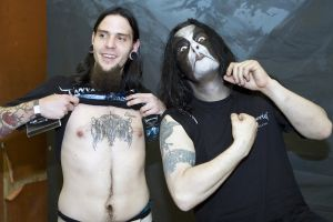 Fan Showing off Immortal tattoo with Immortal's Abbath at Brooklyn Masonic Temple, NY- March 30, 2010.