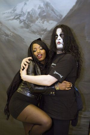 Immortal's Abbath gets down with fan at Brooklyn Masonic Temple, NY- March 30, 2010.