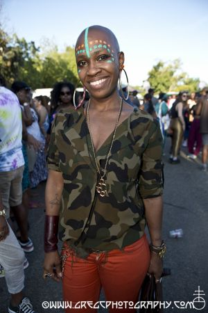 Afro Punk Fest fan at Commodore John Barry Park Brooklyn, NY- August 25, 2013.