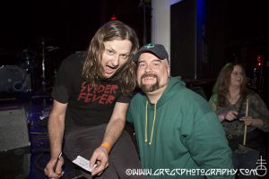 Redd Kross fan with Steve McDonald of Redd Kross at Santos Party House, NYC- April 6, 2013.