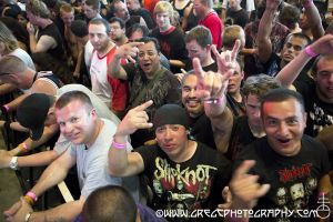 Slipknot fans at Rockstar Energy Drink Mayhem Festival at Susquehanna Bank Center in Camden, NJ- July 27, 2012.