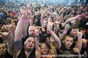Slayer fans at Rockstar Energy Drink Mayhem Festival at Susquehanna Bank Center in Camden, NJ- July 27, 2012.